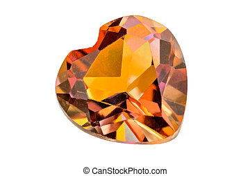 One lovely orange treated Topaz heart on white