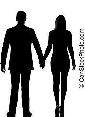 one lovers couple man and woman standing hand in hand
