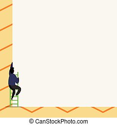 One male human person climb up the stairs. Man move step of high tall wall with short ladder stairway. photo of an impossibility failure hopelessness