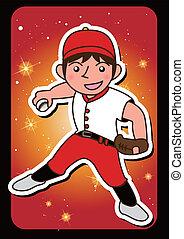 one man baseball player cartoon