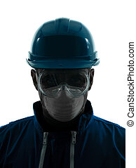 one man construction protective workwear silhouette portrait in studio on white background