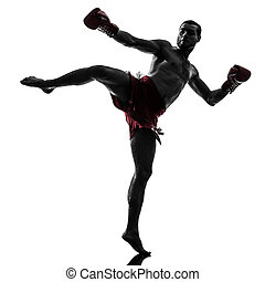 one man exercising thai boxing silhouette - one caucasian...