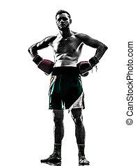 one man exercising thai boxing silhouette