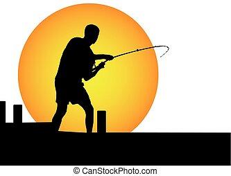 man fishing in the moonlight