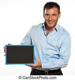 one man holding a blackboard copy space message - one...