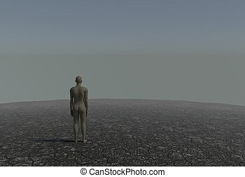 One man in a desert with cracked soil 3d illustration
