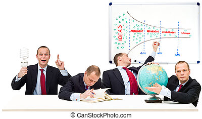 One man innovation process - Conceptual image displaying the...