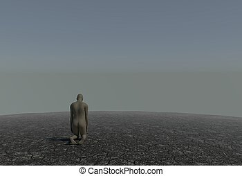 One man kneeling in a desert with cracked soil 3d illustration