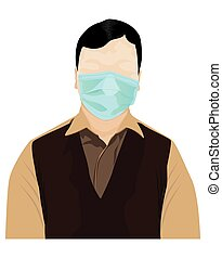 One man wear a virus protection mask vector design