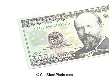 One million dollars banknote closeup isolated on white ...