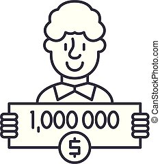 One million dollars line icon concept. One million dollars ...