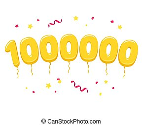 One million golden balloons with confetti, celebration of ...