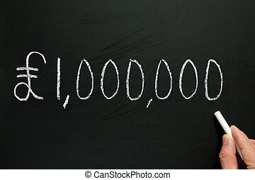 One million pounds, written on a blackboard.