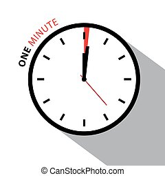 One Minute Clock. Stopwatch Countdown. Vector Clock Face Isolated on White Background.