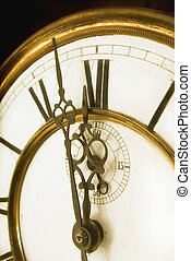 One Minute to Midnight - Old Clock Face with Roman Numerals