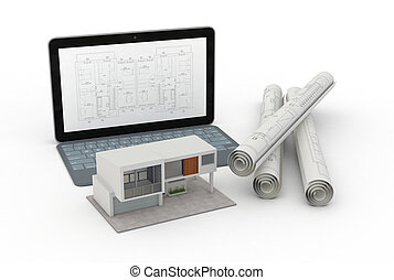 house planning - one model of a modern house, a computer...