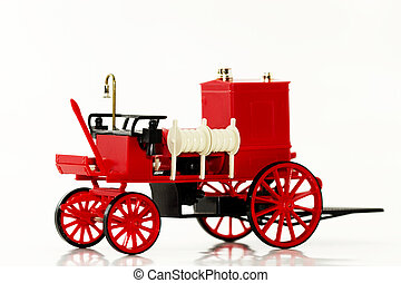 one modell fire fighting vehicle on white background