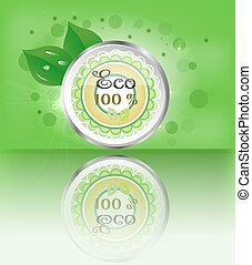 One, modern, green, metal, round label, button, sign with text Eco, leaves, lights, green background, reflection