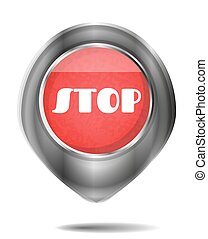 One, modern, isolated, gray, red, oval button with text Stop