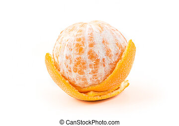 One navel orange peeled isolated on white background
