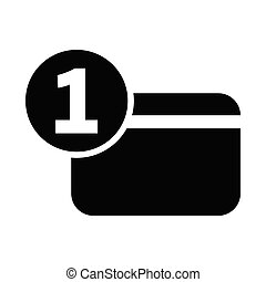 One number credit card flat icon