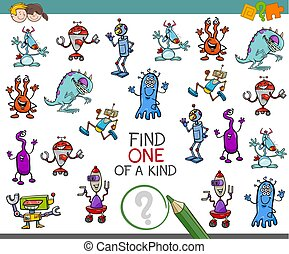 one of a kind activity game - Cartoon Illustration of Find...