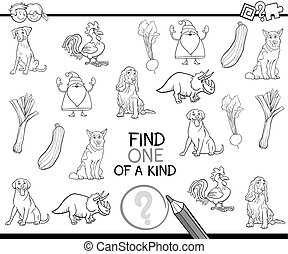 one of a kind coloring page - Black and White Cartoon...