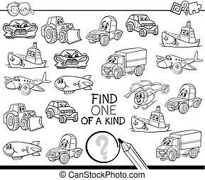 one of a kind coloring page - Black and White Cartoon ...