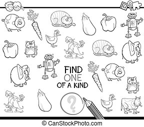 one of a kind for coloring - Black and White Cartoon...