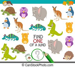 one of a kind game for kids with animals