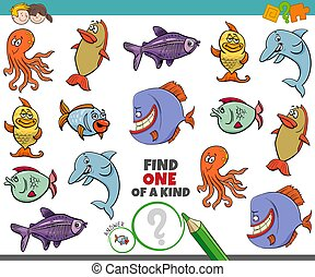 one of a kind game for kids with sea animals