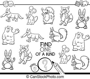 one of a kind game with animal characters color book - Black...