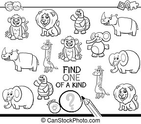 one of a kind game with animals color book - Black and White...