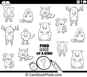 one of a kind game with animals coloring book page - Black ...
