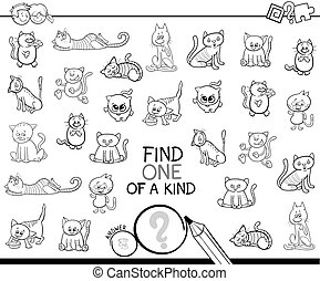 one of a kind game with cats color book - Black and White ...