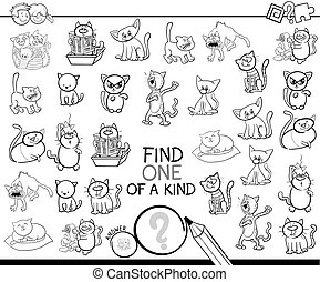 one of a kind game with cats color book - Black and White...