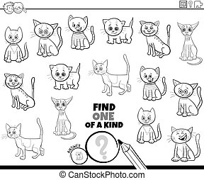 one of a kind game with cats color book page