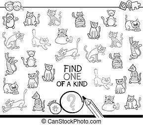 one of a kind game with cats coloring book - Black and White...
