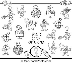 one of a kind game with chefs coloring page - Black and...