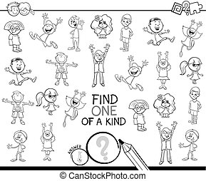 one of a kind game with children coloring book