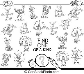 one of a kind game with clowns coloring book - Black and ...