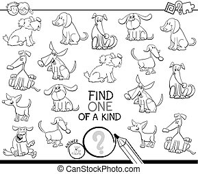 one of a kind game with dogs color book - Black and White ...
