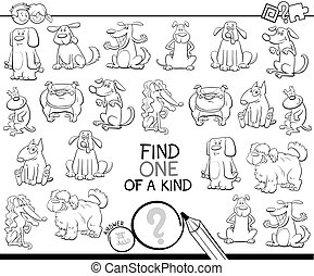 one of a kind game with dogs color book - Black and White...