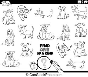 one of a kind game with dogs coloring book page - Black and ...