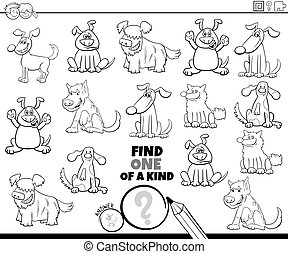 one of a kind game with dogs pets color book page