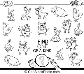 one of a kind game with farm animals coloring book - Black ...