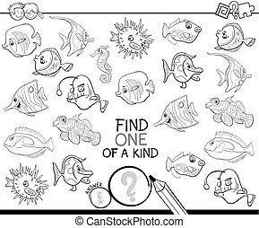 one of a kind game with fish coloring book