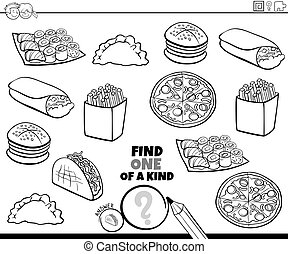 Black and White Cartoon Illustration of Find One of a Kind Picture Educational Game with Food Objects Coloring Book Page