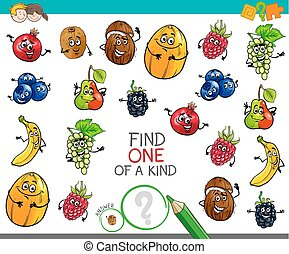 one of a kind game with fruit characters