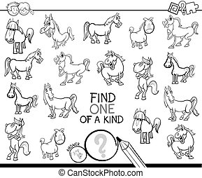 one of a kind game with horses coloring book - Black and...